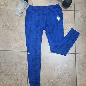 Under Armour LA Dodgers Blue Leggings Size L